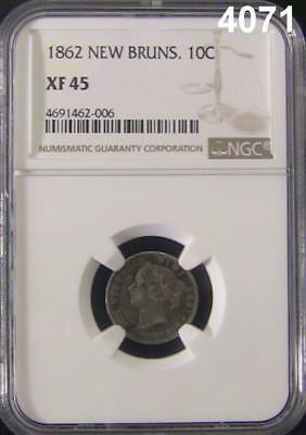 1862 New Brunswick 10C Ngc Certified Xf45 Rare Coin Mintage Only 150,000! #4071