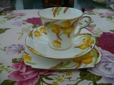 Pretty Vintage Taylor Kent China Trio Tea Cup Saucer Handpainted Flowers 6087