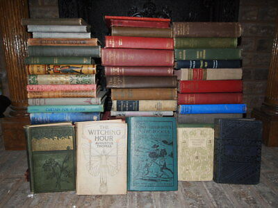 Lot of 10 ANTIQUE VINTAGE *MIXED UNSORTED* Old Rare HC Books Reading Decoration