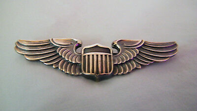 """WW2 US Army Air Corps - Sterling Silver Pilot Wings, 3"""" LGB Very Good Condition"""