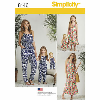 "Simplicity 8146 Misses 6-24 Girls 3-8 Doll 18"" Matching Jumpsut Dresses"
