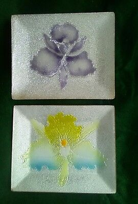 Japanese Cloisonne Enamel Pair Of Lotus / Orchids  Flower Pin Trays