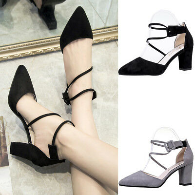 Womens Sandals High Heels Block Pointed Toe Ankle Strap Shoes Party Pumps Size