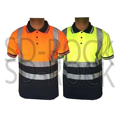 Hi Viz Vis High Visibility Polo Reflective Tape Safety Security T Shirt Work Top
