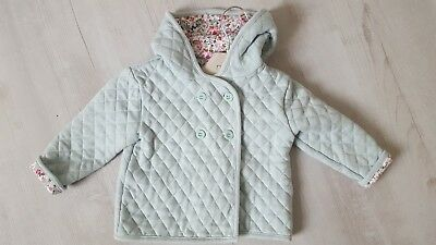 Lovely baby girls quilted mint green Mothercare jacket age 9-12 months 1