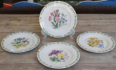 """Set of 4 THOMSON Pottery FLORAL GARDEN Flowers Luncheon SALAD PLATES 7.5"""""""