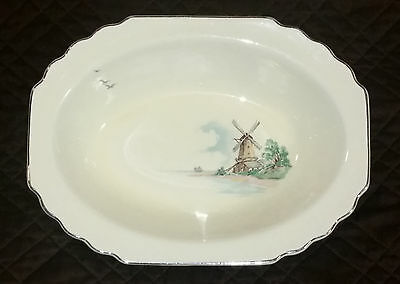 LIDO WS GEORGE Canarytone Ceramic Windmill Ocean Oval Serving Bowl 181A USA