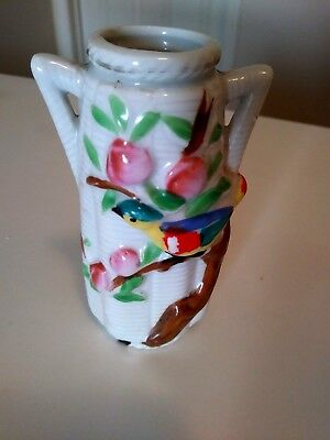 Vintage small Colorful Parakeet Porcelain Wall Pocket made in Japan
