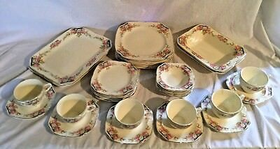 Vintage Antique 34 Piece Edwin Knowles Dinnerware Set Service 6 With Serving Pcs