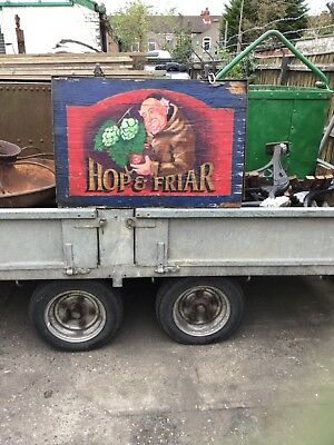 Beautiful Hand Painted Hanging Pub Sign Hope And Friar Reclaimed Antique