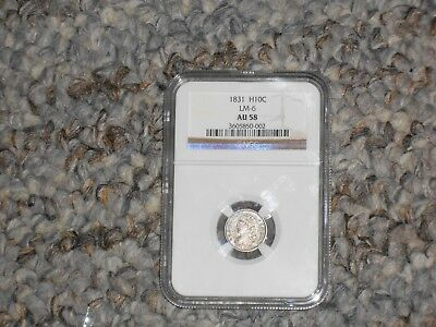 1831 Us Capped Bust Silver 1/2 Half Dime Ngc Au 58 Free Shipping Within The Usa