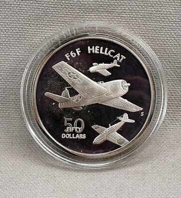 1991-S Marshall Islands Proof $50 1 oz Silver F6F HELLCAT WWII Plane Round!