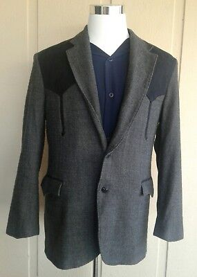 Vintage Circle S Western WOOL Jacket Size 46L Arrow Yokes GRAY (Made in China)
