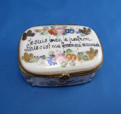 Vintage French Proverb Porcelain Box Hand Painted