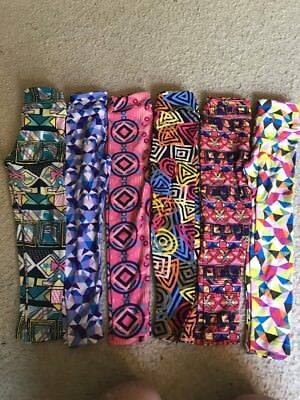 Lularoe Leggings Kids Small Medium 6 Pack Lot. Geometric Colorful