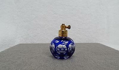 Vintage Mid Century Cut Glass Blue-Clear Perfume Atomizer Bottle Occupied Japan