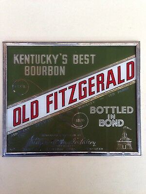 1950's Old Fitzgerald Kentucky Bourbon Whiskey Reverse On Glass Sign