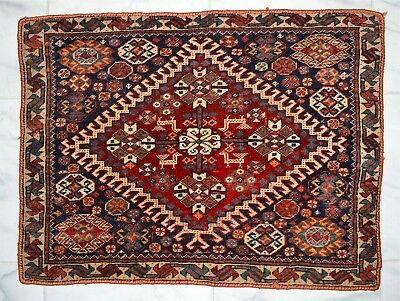 Exquisite Old or Antique Persian Blue-Ground Mat Rug ~25.5 x 18.75 Inches