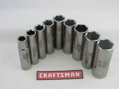 "Craftsman 9pc LASER ETCHED Socket Set 6pt 1/2"" Drive SAE INCH Easy Read Deep"