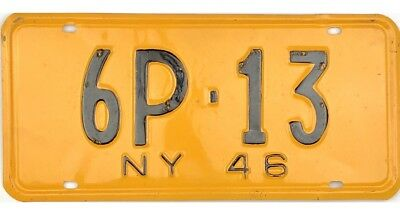 1946 New York License Plate #6P-13 No Reserve
