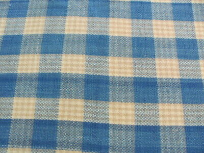Beautiful blue tan hand woven antique wool blanket coverlet