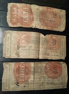 lot (3) Bank of Chattanooga  $3 Bank Notes on Recycled