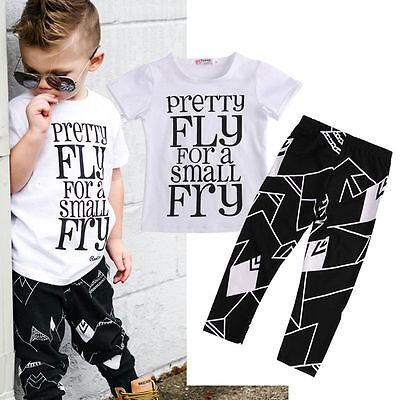 2-7T Kids Toddler Baby Boy Casual T-Shirts Tee Short Sleeve Tops+Trousers Outfit