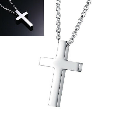 """Simple Cross Pendant Stainless Steel Small Necklace Silver With 20"""" Chain Gift"""