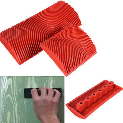 2pc Silicone Wood Grain Graining Pattern Wall Paint Painting Decoration DIY Tool