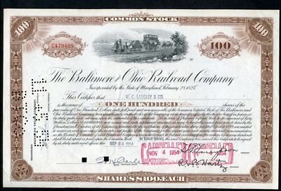 The Baltimore & Ohio Railroad Co.-100 shares-Sept. 1954-C479409-excellent cond.