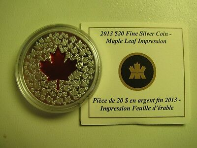 2013 Proof $20 Impression #1-Red Enamel Maple Leaf COIN&COA ONLY Canada .9999 si