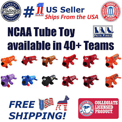 NCAA DOG TOY - Licensed Tube Toys available in 40+ COLLEGE Teams Squeaky & Plush