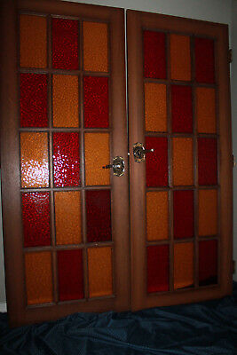 Antique Vintage French Carved Hand Painted Stained Bar Glass Red Door Pair Set