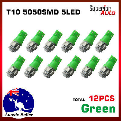 12pcs T10 5050SMD LED Light Bulbs Auto Car Dome Door Side Trunk Box Globe Green