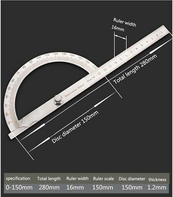 Protractor Protractor Stainless Steel Gauge-0-180°/15cm (Hollow-Large)