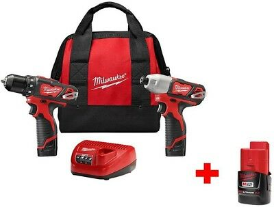 Milwaukee M12 12-Volt Lithium-Ion Cordless Drill/Driver and Impact Combo Kit