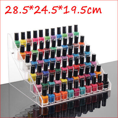 Acrylic Clear 6 Tiers Nail Polish Display Shelf Rack Wall Mount Stand Organizer