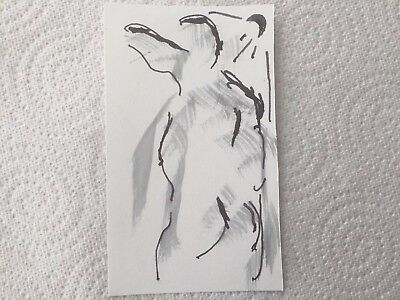 Nude Life Drawing Human Figure. Ink Paper 74x105mm. Not Print, Original Drawing.