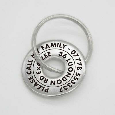 Personalised Pet Disc Dog ID Tag Steel Washer Free Laser Engraved Ring Tags