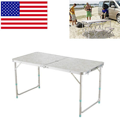 4' Folding Table Portable Plastic Indoor Outdoor Picnic Party Dining Camp Adjust