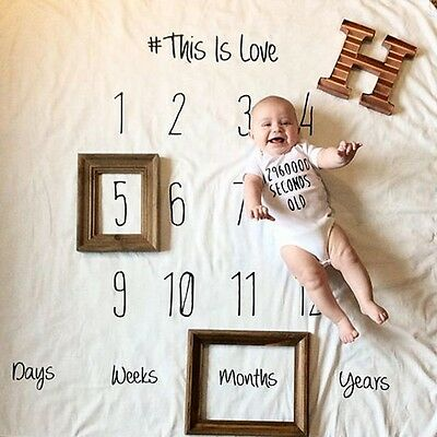 Newborn Photo Prop Nursery Decor Baby Monthly 100Days Anniversary Letter Blanket