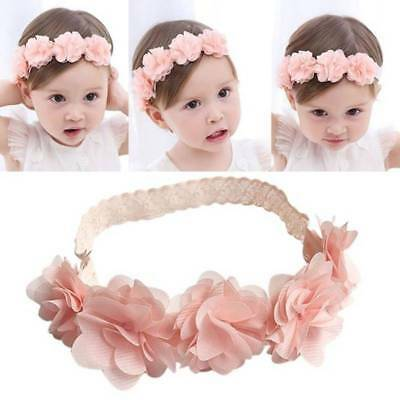 Kids Baby Girl Toddler Pink Lace Flower Headband Hair Band Headwear Accessories