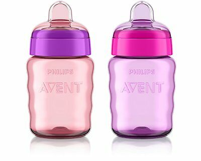 Philips Avent My Easy Sippy Cup, 9 Ounce, Pink/Purple, Stage 2 colors may