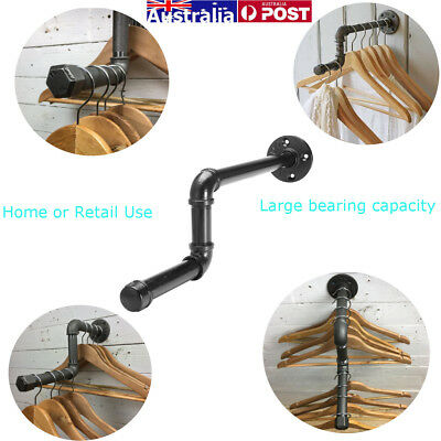 AU Industrial Vintage Wall Clothes Rail Iron Pipe Towel Rack Home Laundry Shelf