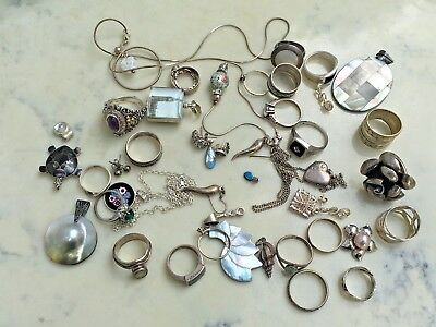 Sterling Silver Rings, Pendants, Earrings, Useable Resaleable, 43pcs 199.58Grams