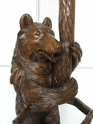 Swiss Brienz Black Forest Carved 2 Bear Hall & Umbrella Stand: 1880