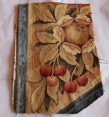 antique 19th century Aubusson tapestry fragment cherries,flowers