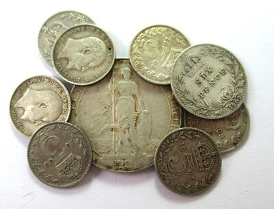 Great Britain Florin 1910 Silver Plus 8 Other Coins from 1900's   #CIW