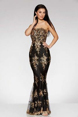 e024ecdad39 Quiz Black And Gold Sequin Embellished Fishtail Maxi Dress RRP £79.99