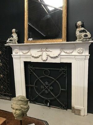 Large Antique Victorian Carved Wooden Fire Surround